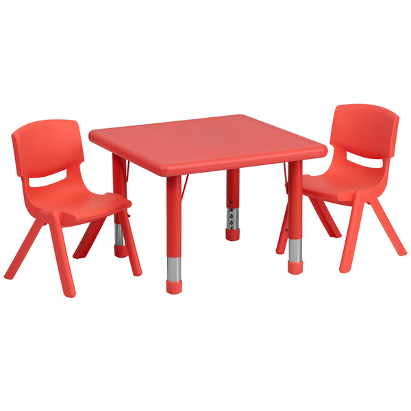 24'' Square Red Plastic Height Adjustable Activity Table Set with 2 Chairs