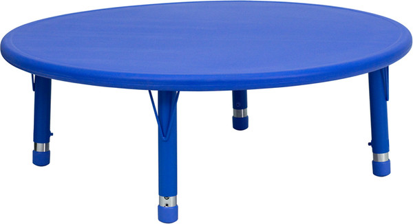 45'' Round Blue Plastic Height Adjustable Activity Table