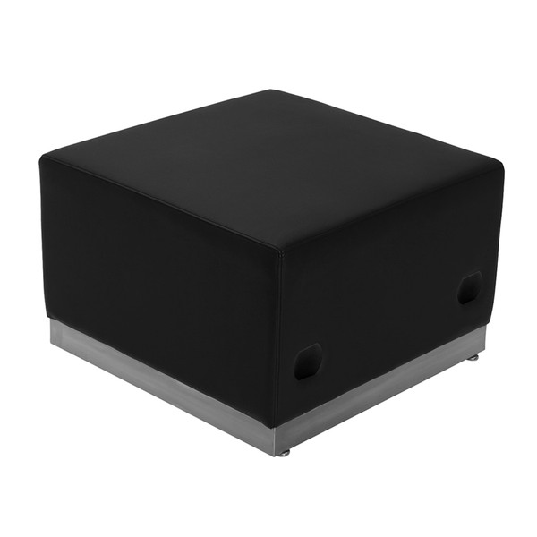 TYCOON Alon Series Black Leather Ottoman with Brushed Stainless Steel Base