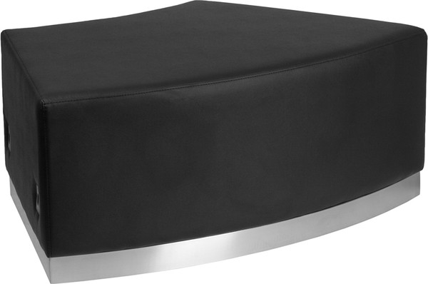 TYCOON Alon Series Black Leather Backless Convex Chair with Brushed Stainless Steel Base