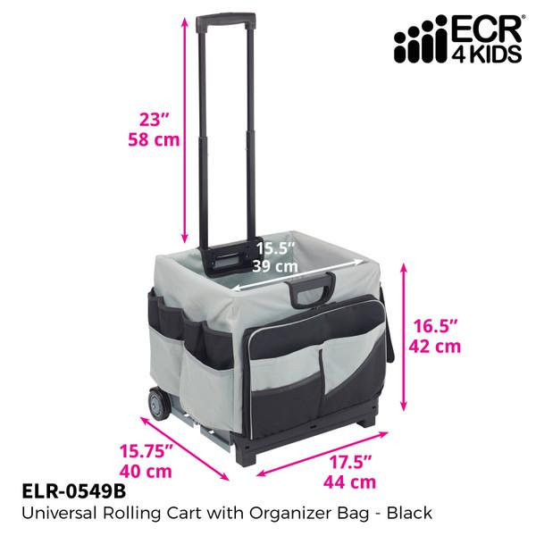Universal Rolling Cart and Organizer Bag - Black