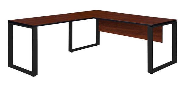 """Structure 72"""" x 30"""" L-Desk Shell with 42"""" Return- Cherry/Black"""