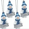 Blue Glittered Snowman Christmas Tree Decoration - Anyname