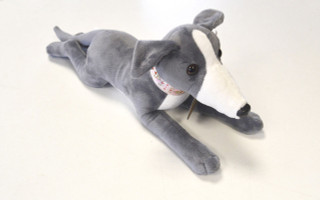 """Beautiful Blue and White Greyhound Soft Toy """"Bella"""" With Detailed Collar - 40cm"""