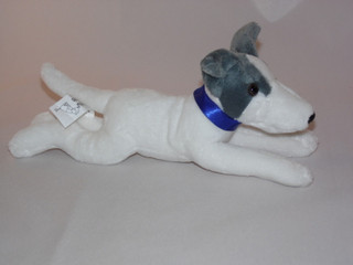 Greyhound whippet Puppy Wearing a Blue  Collar - Soft Toy