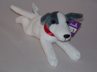 Greyhound whippet Puppy Wearing a Red  Collar - Soft Toy