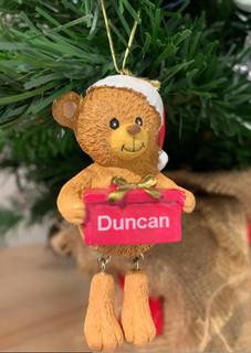 Personalised Christmas Tree Decoration- Santa Bear Any Name