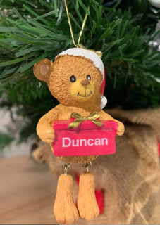 Personalised Christmas Tree Decoration- Santa Bear Any Name
