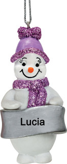 Lilac Glittered Snowman  Christmas Tree Decoration - Anyname