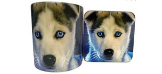 Husky With Blue Eyes Mug and Coaster Set