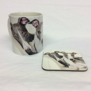 Wendy & Puzzle Greyhounds Mug & Coaster Set