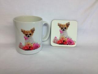 Chihuahua Design Chihuahua and Flower Mug & Coaster Set