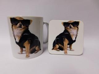 Chihuahua Dog Mug and Coaster Set