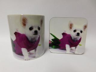 Chihuahua In Pink Jumper Mug and Coaster Set