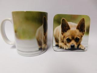 Chihuahua Brown Smooth Hair Mug and Coaster Set