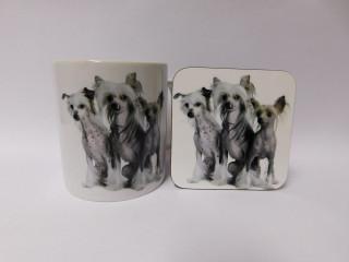 Chinese crested Dog Mug and Coaster Set