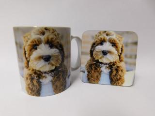 Cockapoo Brown & White Puppy Mug and Coaster Set