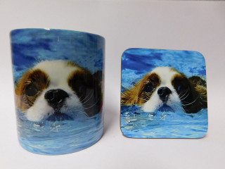 King Charles Spaniel Swimming  Mug and Coaster Set