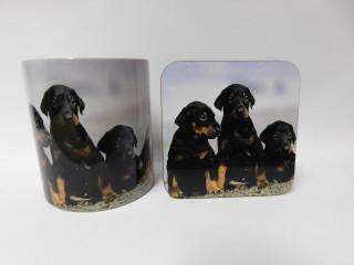 Doberman Puppies Mug and Coaster Set