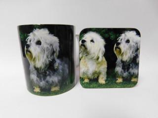 Dandi Dinmont Puppies Dog Mug and Coaster Set