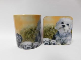 Dandi Dinmont Mum & Puppies Mug and Coaster Set