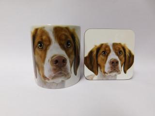 Brittany Dog Mug and Coaster Set