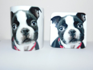 Boston Terrier In Red Collar Mug and Coaster Set