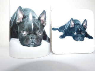 Black Boston Terrier Laying  Mug and Coaster Set