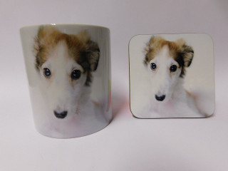 Borzoi Puppy Face  Mug and Coaster Set
