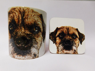 Border Terrier Face with Effect Dog Mug and Coaster Set