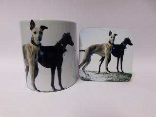 Black And Fawn Greyhounds on Hill Mug and Coaster Set