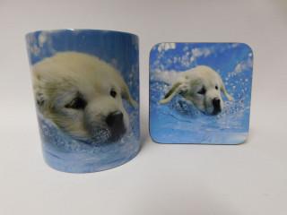 Golden Retriever Puppy Swimming Mug and Coaster Set
