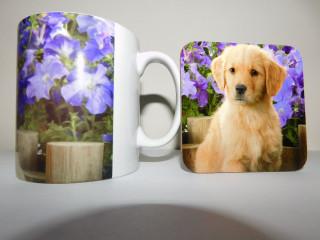 Golden Retreiver Puppy in Purple Flowers Mug and Coaster Set