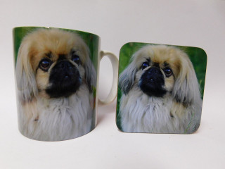 Pekingese Dog Mug and Coaster Set