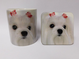 Maltese Dog Mug and Coaster Set