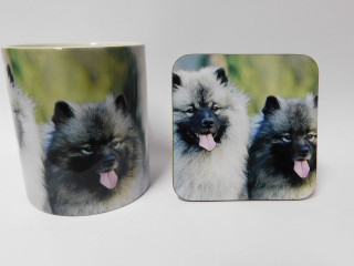 Keeshond Dog Mug and Coaster Set