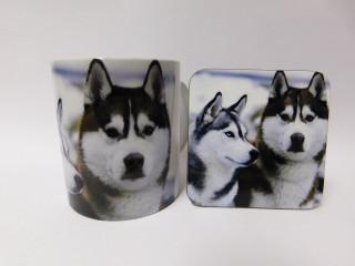 Canadian Eskimo Dog Mug and Coaster Set