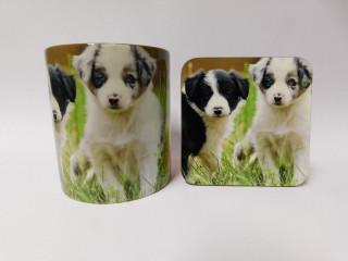 Border Collie Puppies Dog Mug and Coaster Set