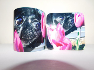 Black Pug Dog Mug and Coaster Set