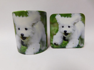 Bichon Frise Puppy Dog Mug and Coaster Set