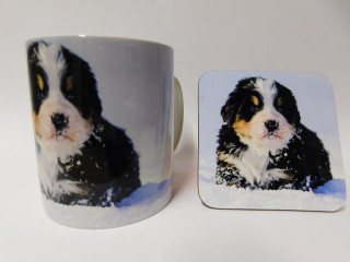 Bernese Puppy in snow Dog Mug and Coaster Set