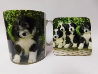 Bearded Collie Puppies Dog Mug and Coaster Set