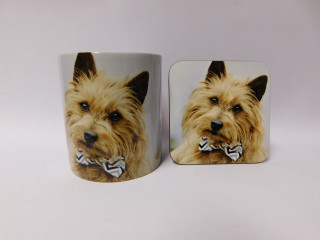 Australian Terrier in bow tie Dog Mug and Coaster Set