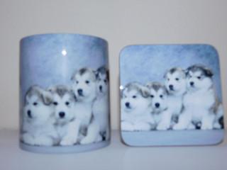 Alaskan Malamute Puppies Mug and Coaster Set