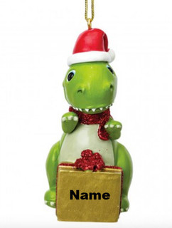 Personalised Dinosaur Christmas Decoration by Suki Gifts