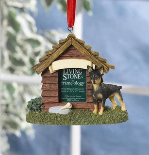 Living Stone Dog House Photo Magnet Ornament-Miniature Pincher