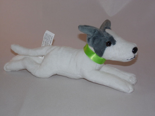 Greyhound whippet Puppy Wearing a GREEN  Collar - Soft Toy