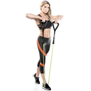 Kim Lyons using Bionic Body Training Kit w/ Exercise bar, Resistance Tube & Carabiner - BBKT-2020 for shoulder workout