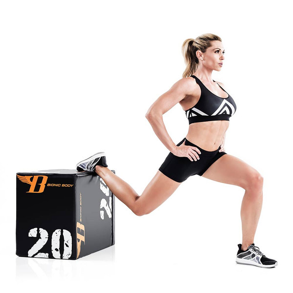 Kim Lyons using Bionic Body plyo box for HIIT conditioning workout