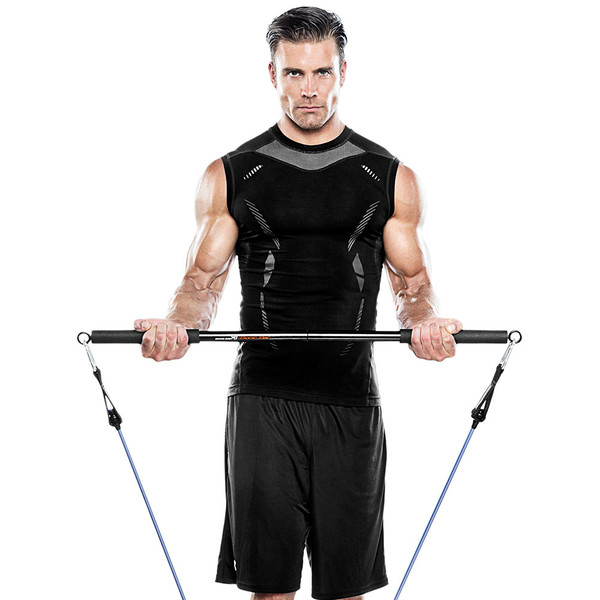 Bionic Body BBEB-20 Exercise Bar in use by model to add weight to HIIT conditioning - 2